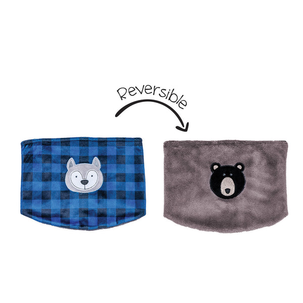 Kids Reversible Neck Warmer - Wolf/Bear