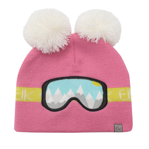 Kids Knitted Toque - Ski Goggles Pink