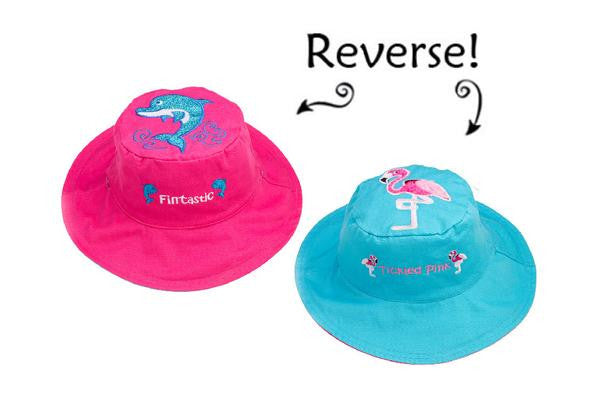 Reversible Kid's Sun Hat - Dolphin | Flamingo