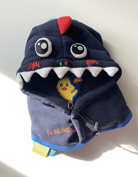 Winter Hat and Neck Warmer - Navy/Dino