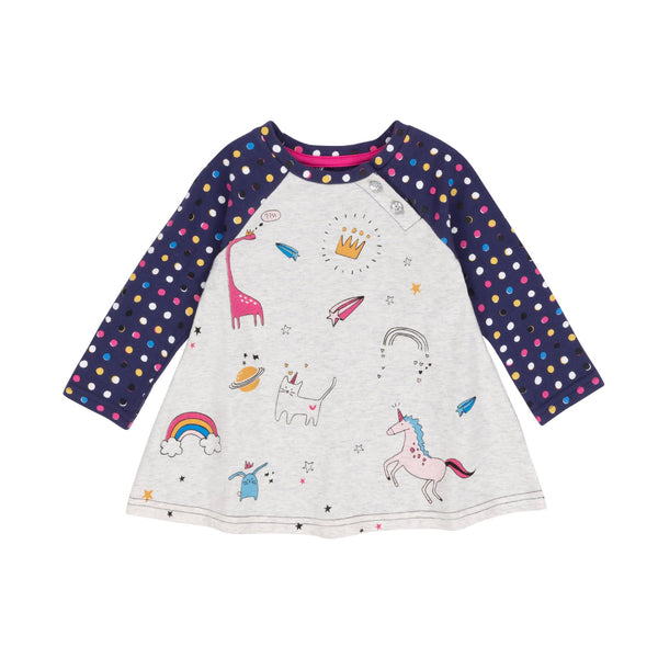 Printed Unicorns & Dotted Top