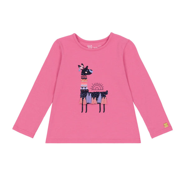 Coral Llama Graphic Long Sleeve T-Shirt