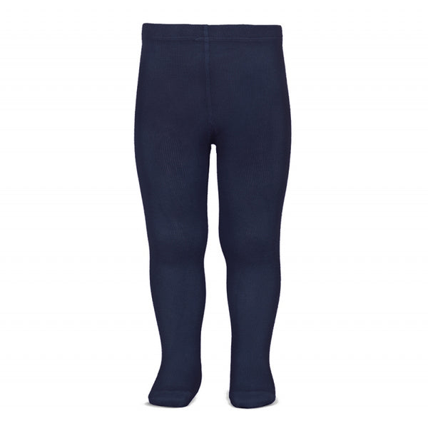 Plain Stitch Basic Tights - NAVY BLUE