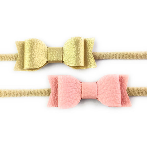 Headband 2 Pack - Mia Leather Bows