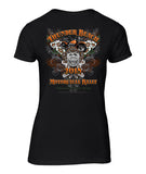 2018 Thunder Beach Flowers Black Vneck Ladies Top