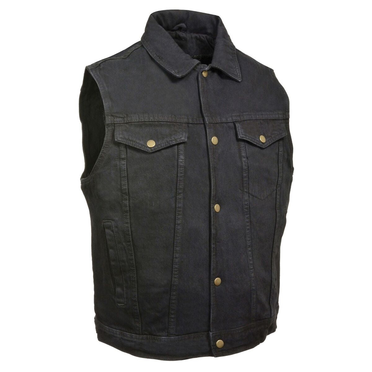 Men's Snap Front Denim Vest w/ Shirt Collar-Black