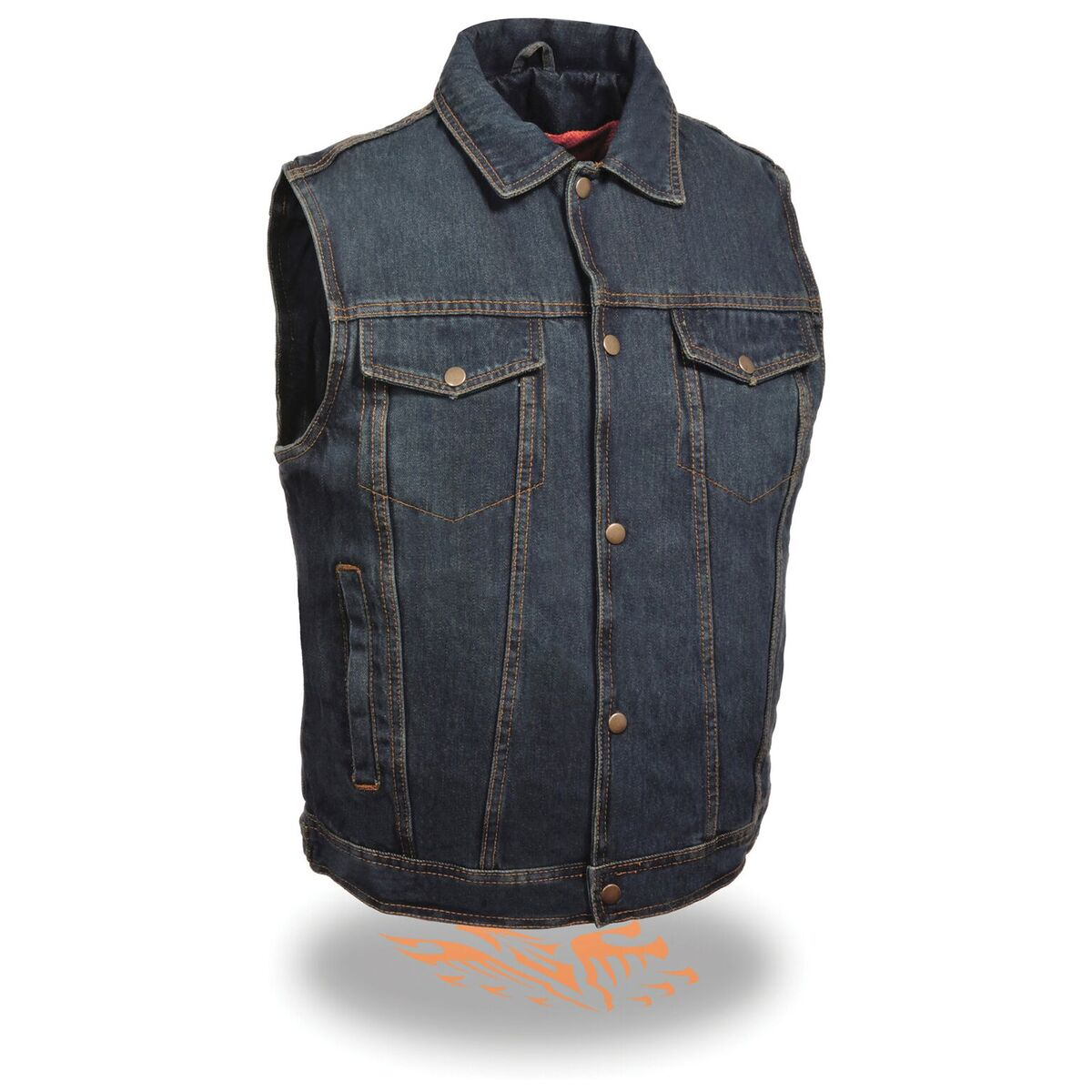 Men's Snap Front Denim Vest w/ Shirt Collar-Blue