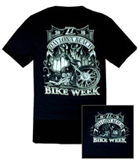 2018 Daytona Bike Week Bagger and Palm Trees Black T-Shirt