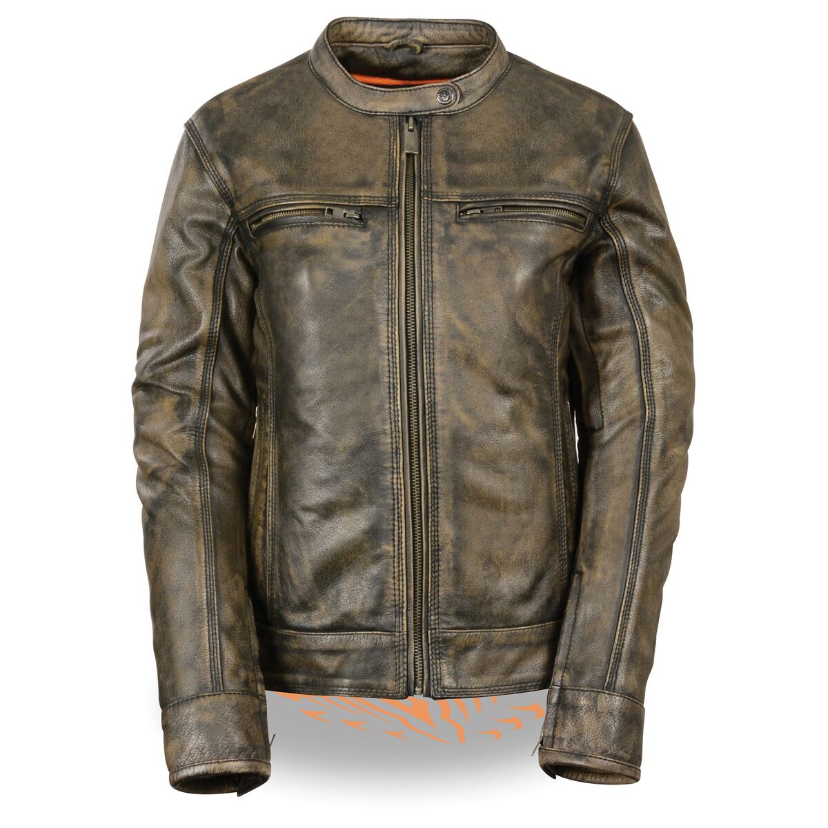 Women's Triple Stitch Distressed Brown Scooter Jacket with Venting