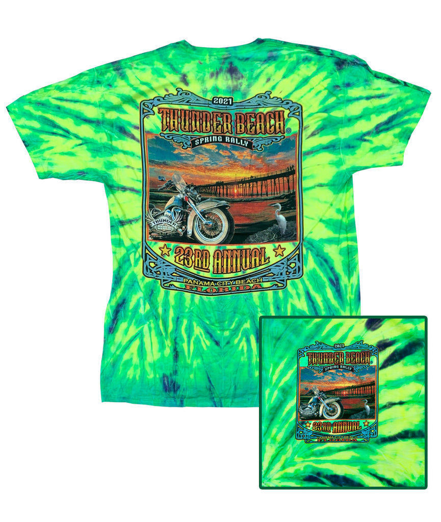 2021 Spring Thunder Beach #1 Design Tie Dye Green T-Shirt
