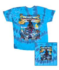 2021 Spring Thunder Beach PIRATE Design Tie Dye Blue T-Shirt
