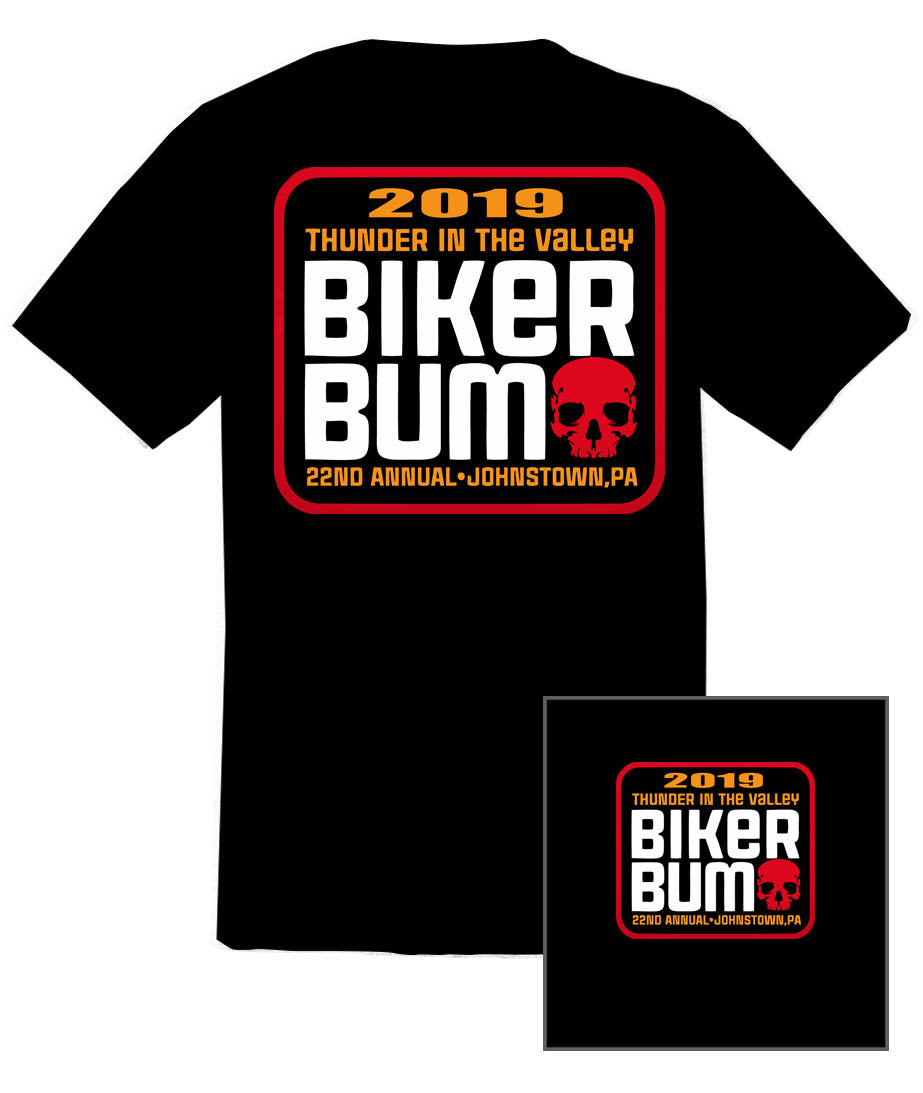 "2019 Thunder in the Valley ""Biker Bum"" Black T-Shirt"