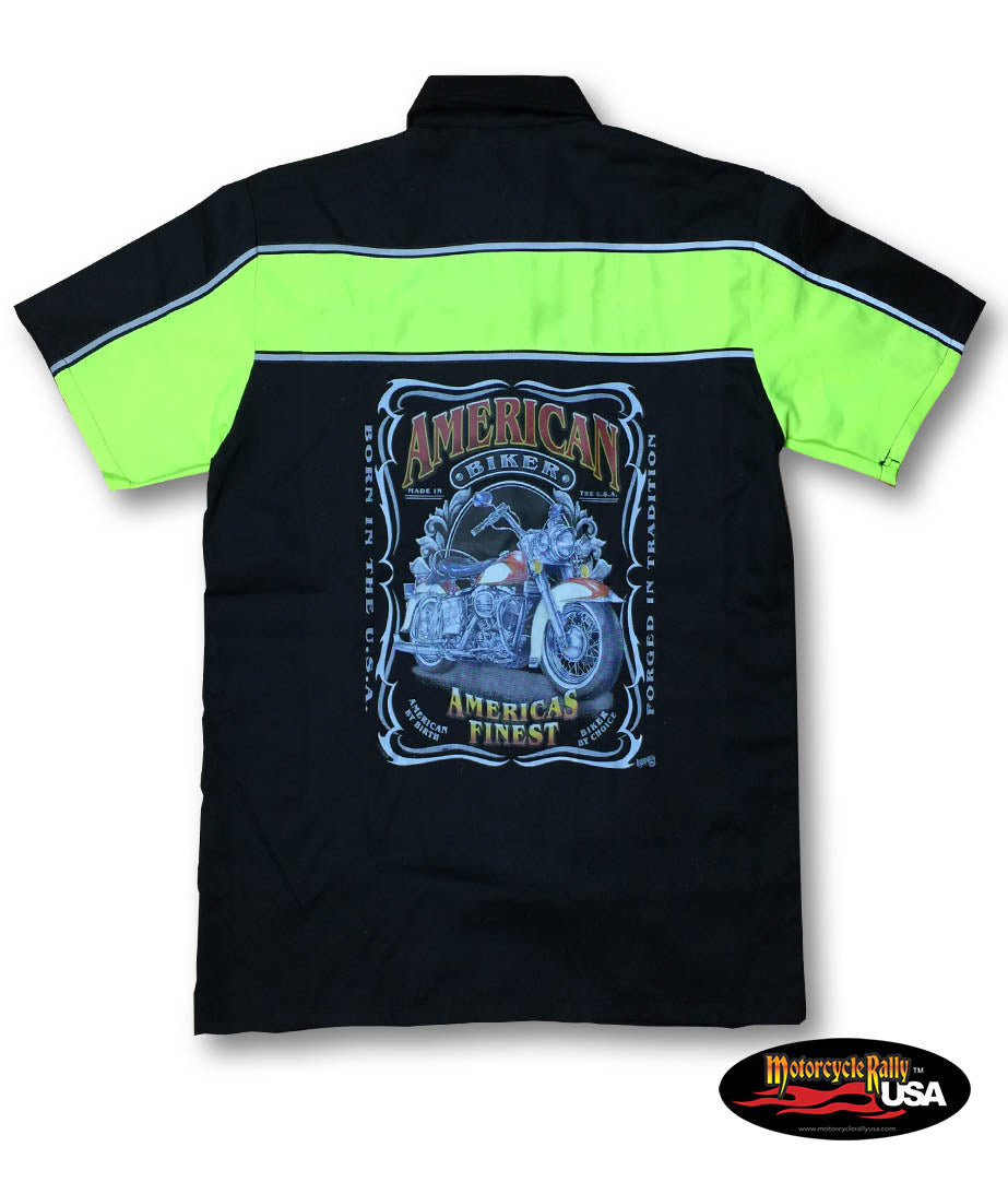 America's Finest Two Tone Work Shirt with Reflector Stripes - Black/Neon Green
