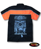 """Fuck You I have Enough Friends"" Bull Dog/Marines Two Tone Work Shirt with Reflector Stripes - Black/Neon Orange"