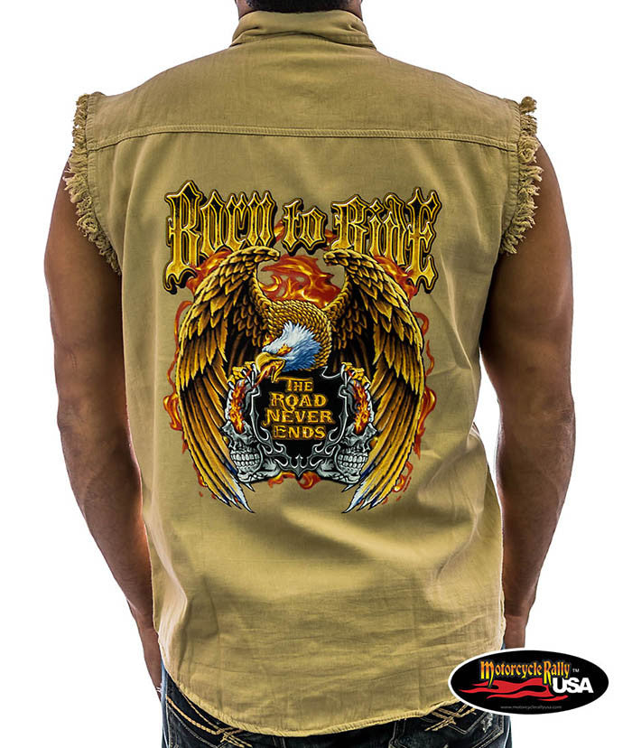 Born to Ride Cut Off Denim Shirt