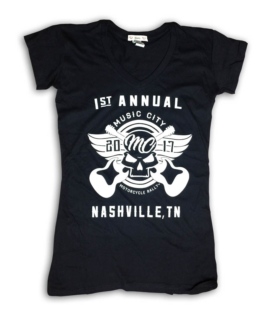 2017 Music City Motorcycle Rally #1 Design Black V-Neck Ladies Top