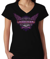 2019 Thunder in the Valley Purple Wings V-Neck Black Ladies Top
