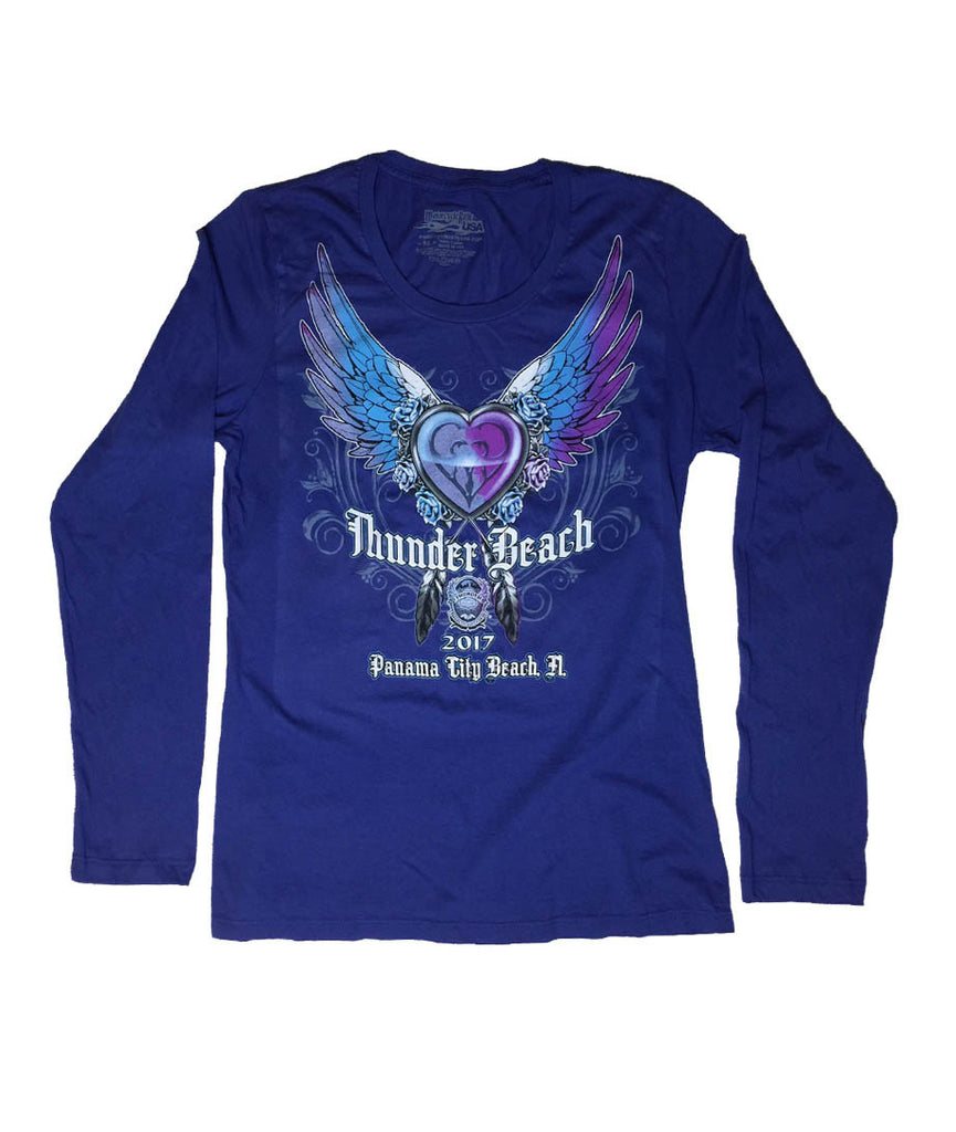 2017 Spring Thunder Beach Heart and Wings Ladies Blue Long Sleeves Top
