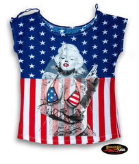 Marilyn US Flag Drop Shoulder Tee