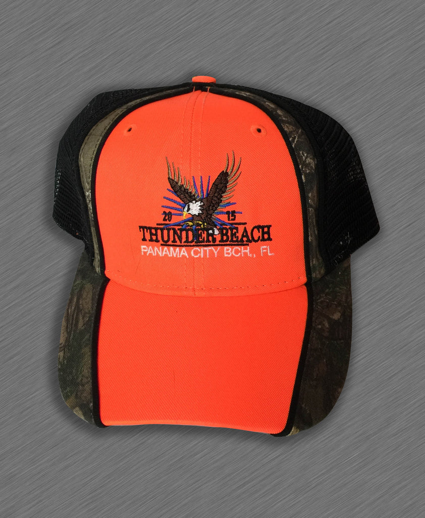 2015 Spring Thunder Beach Neon Orange with Green Mesh Hat