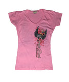2017 Spring Thunder Beach Heart Dagger Ladies Pink Vneck Top