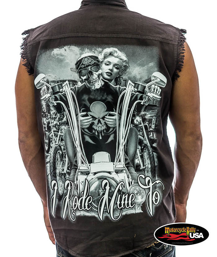 Marilyn I Rode Mine Cut Off Denim Shirt