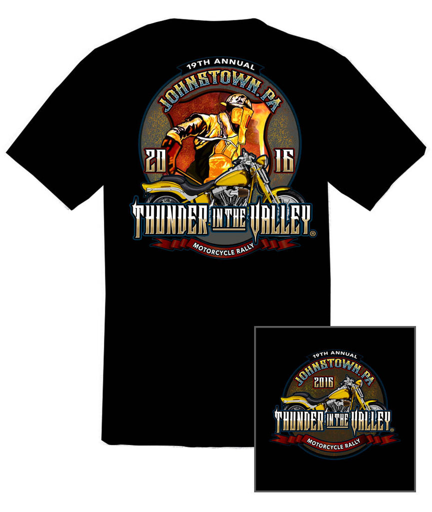 2016 Thunder in the Valley #1 Design Steel Worker Black T-Shirt