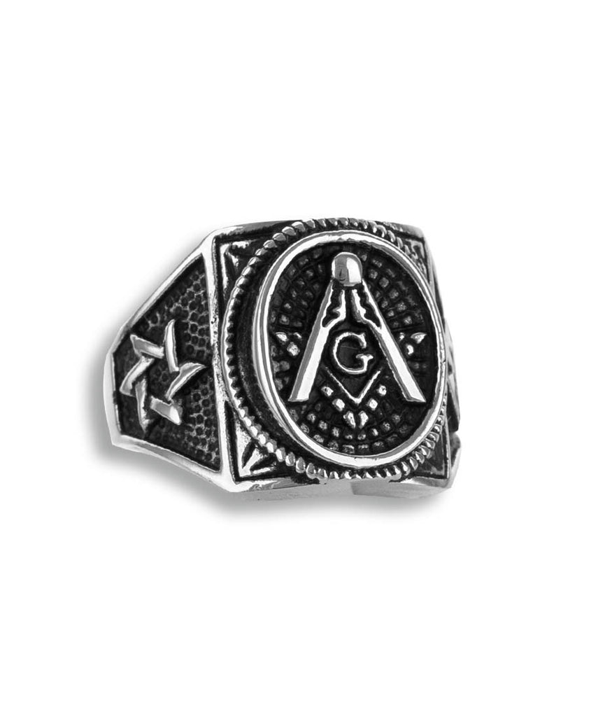 Hope, Faith & Charity Men Mason Stainless Steel Ring