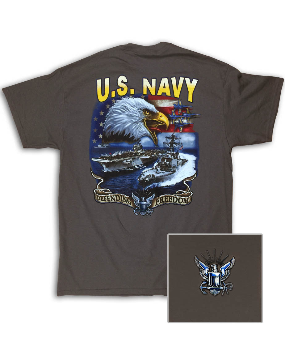 Navy Screaming Eagle Charcoal T-Shirt