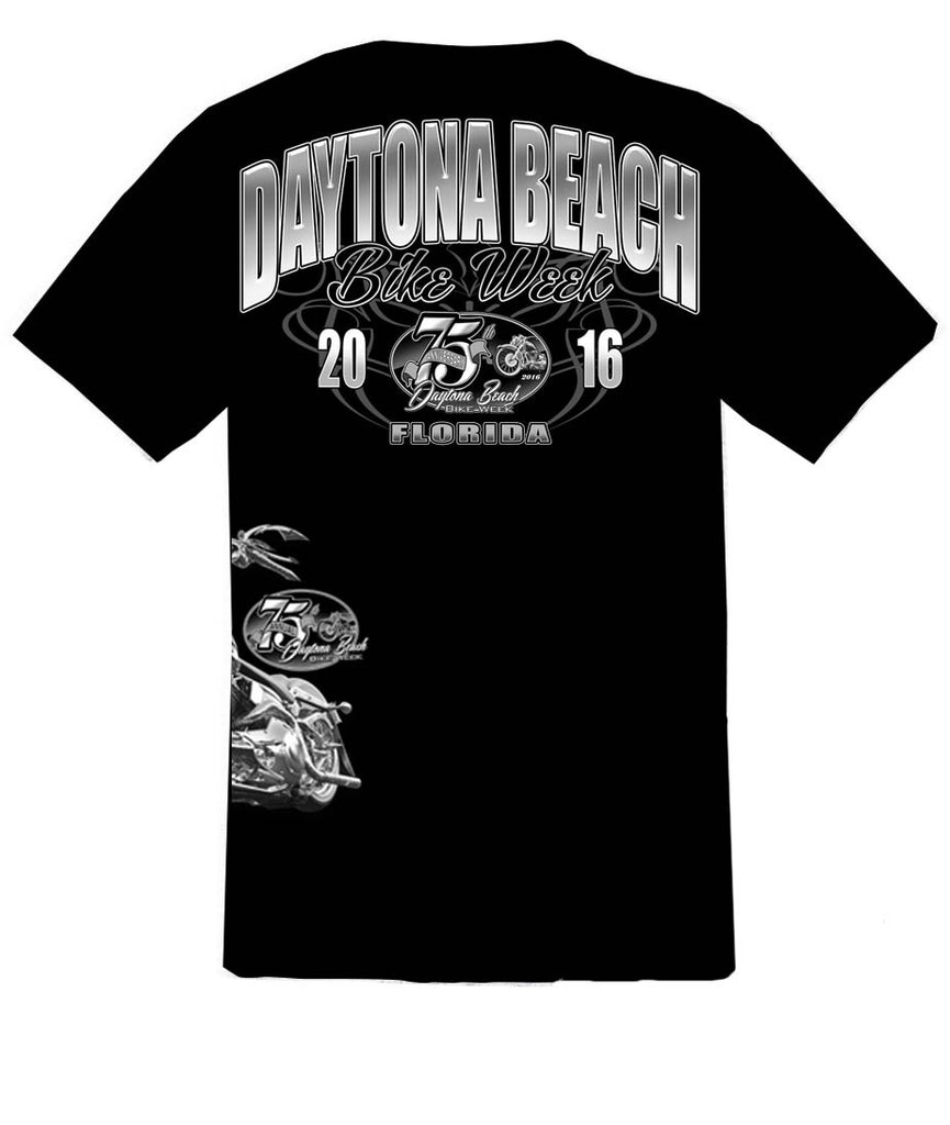 2016 75th Anniv. Daytona Bike Week Bike on Waist Black T-Shirt