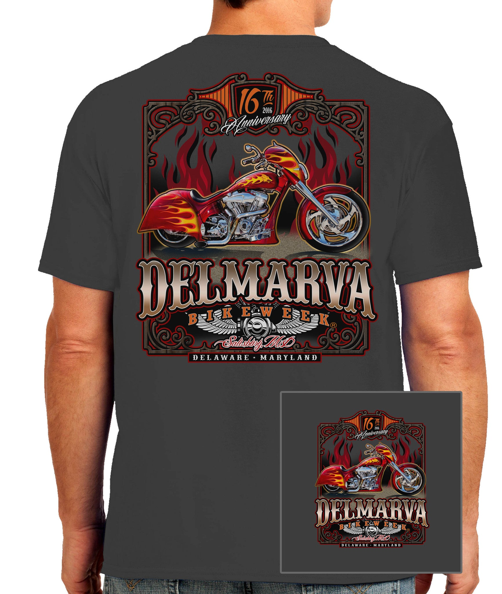 2016 Delmarva Fire Bike Charcoal T-shirt