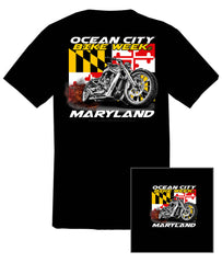 2017 OC BikeFest Maryland Flag Black T-Shirt