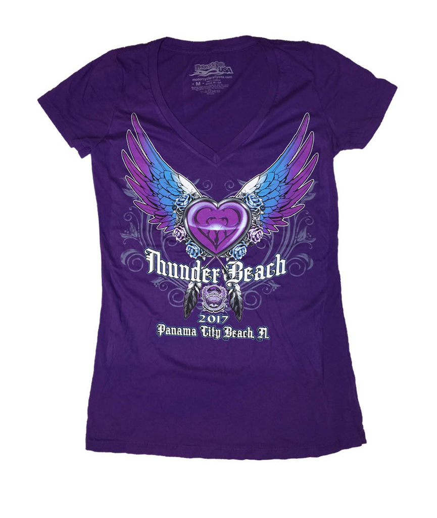 2017 Spring Thunder Beach Heart and Wings Ladies Purple V-Neck Top