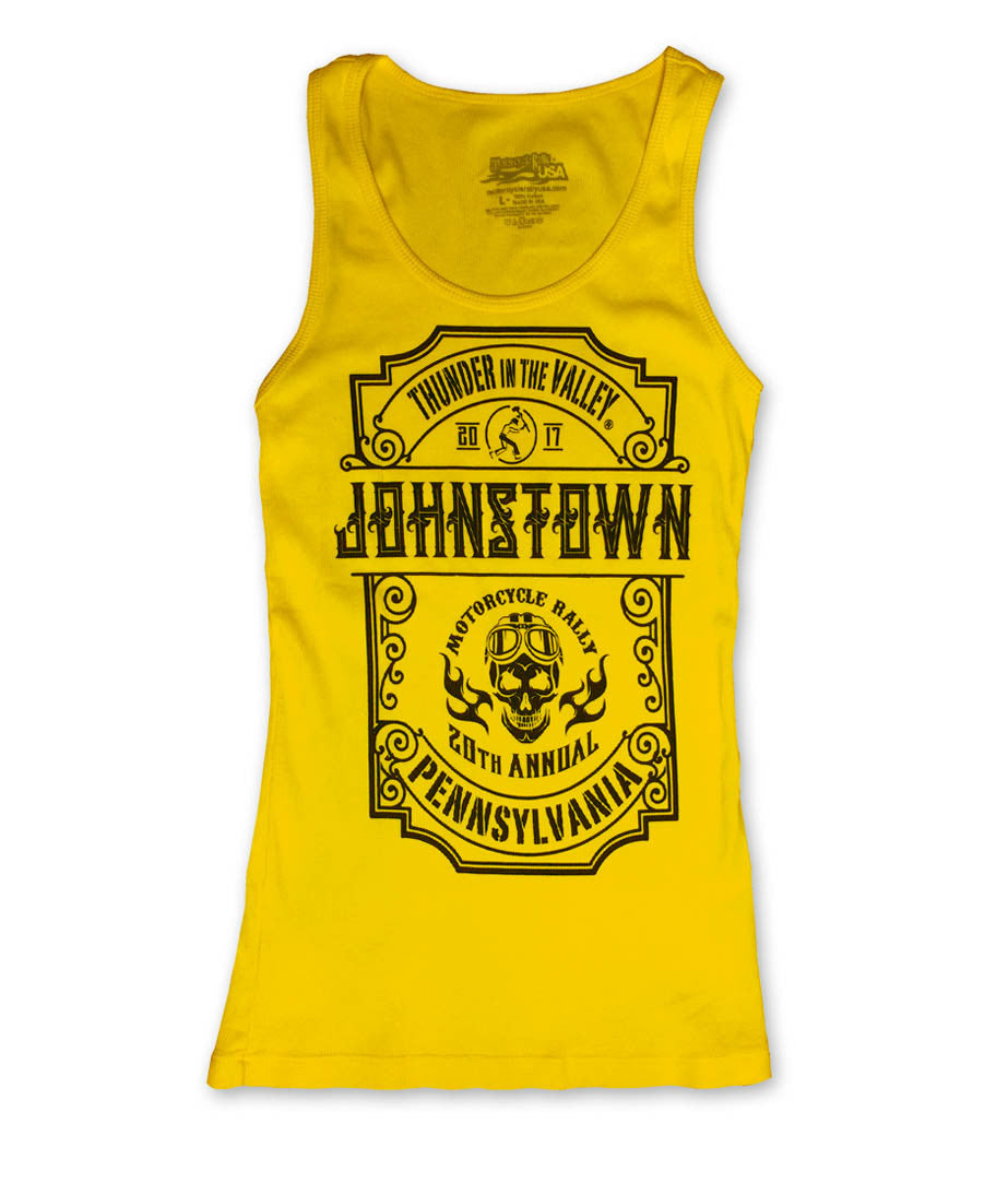 2017 Thunder in the Valley Black Skull on Gold/Yellow Ladies Tank Top