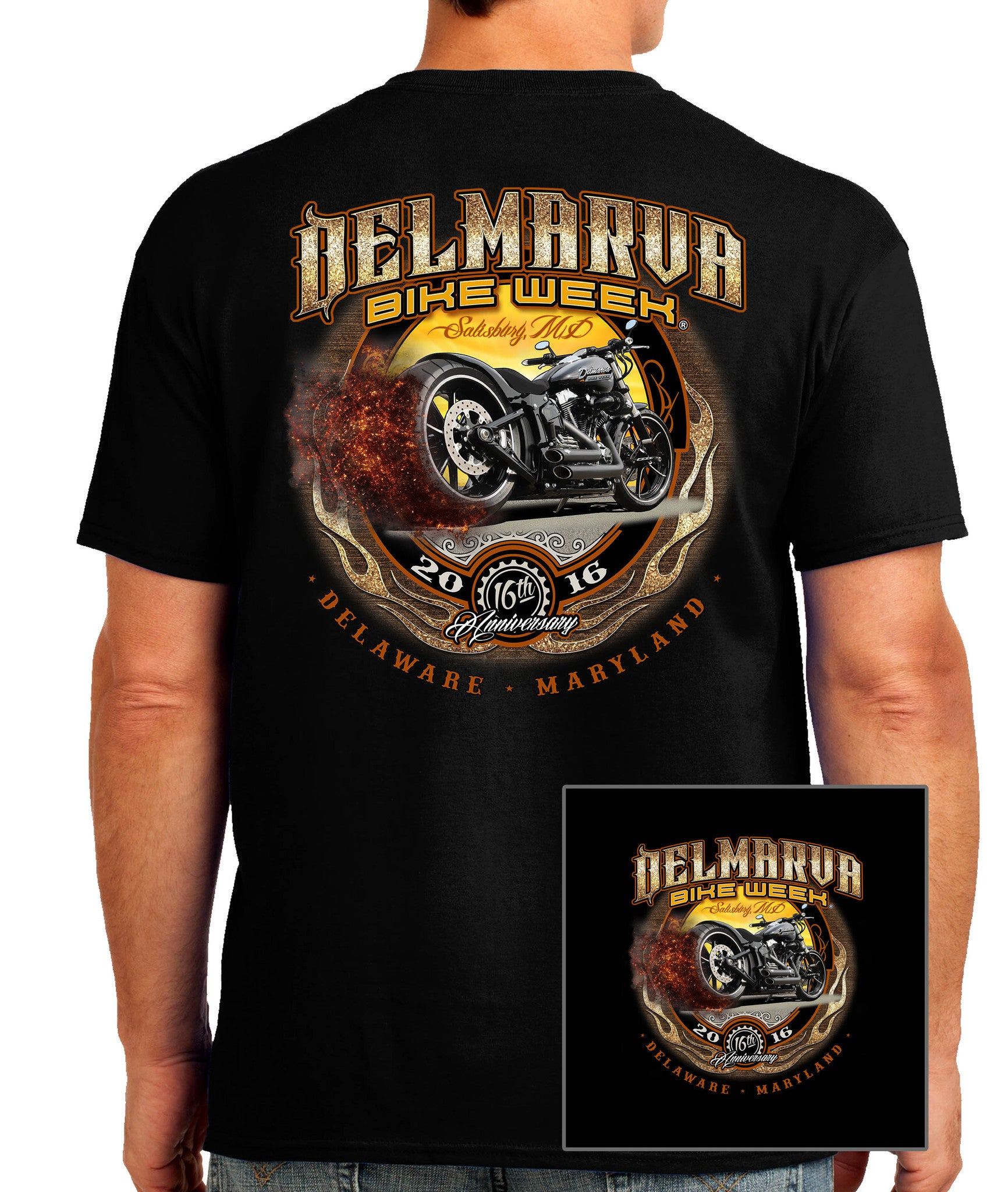 2016 Delmarva Burnout Bike Black T-shirt