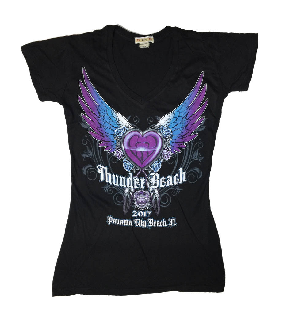 2017 Spring Thunder Beach Heart and Wings Ladies Black  V-Neck Top