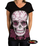 Pink Sugar Skull V-Neck Top