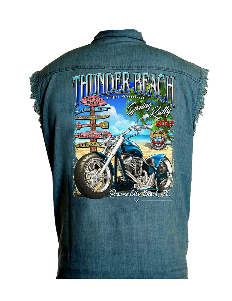 2017 Spring Thunder Beach Official Venues Blue Denim Cut Off Shirt
