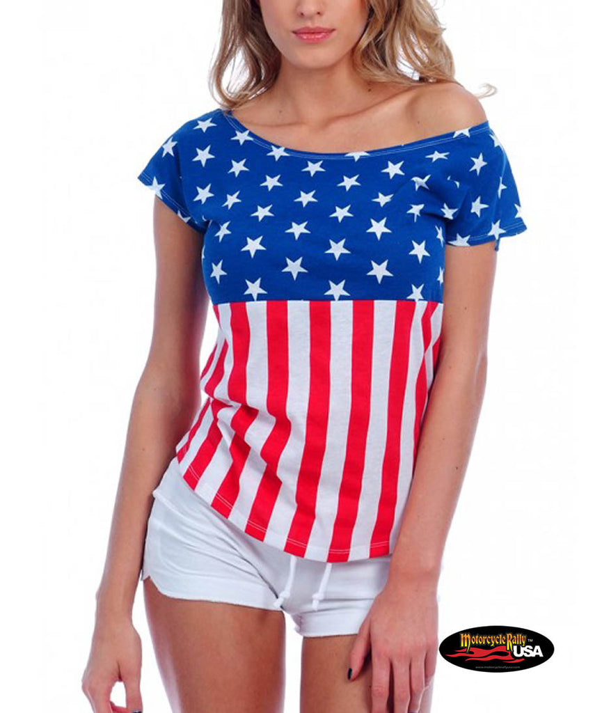 US Flag Drop Shoulder Tee