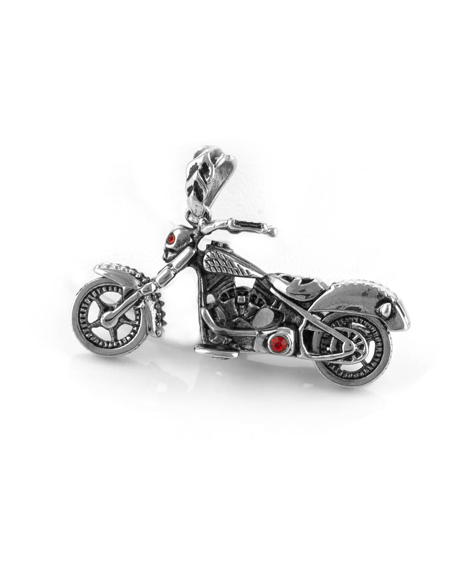 Skull Motorcycle with Red Stones Stainless Steel Pendant