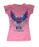 2017 Spring Thunder Beach Heart and Wings Ladies Pink V-Neck Top
