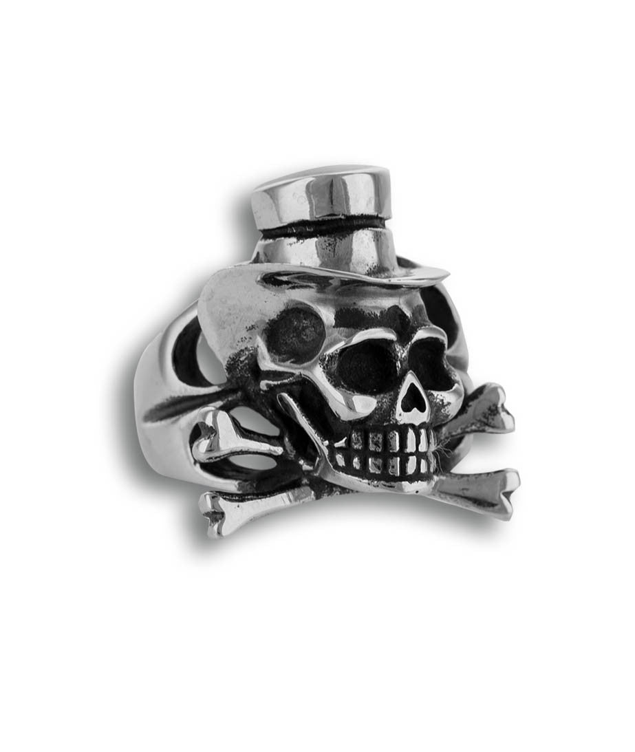Skull with Hat & Bones Men Stainless Steel Ring