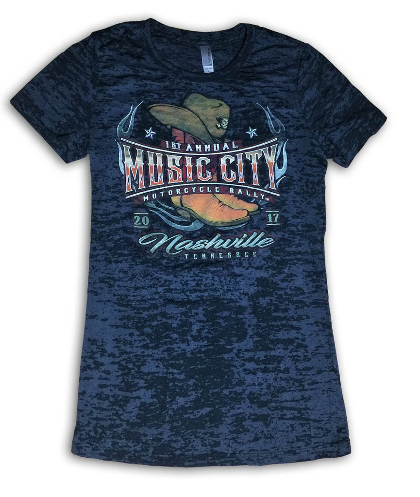 2017 Music City Motorcycle Rally Cowgirl Boots Black Burnout Ladies Top