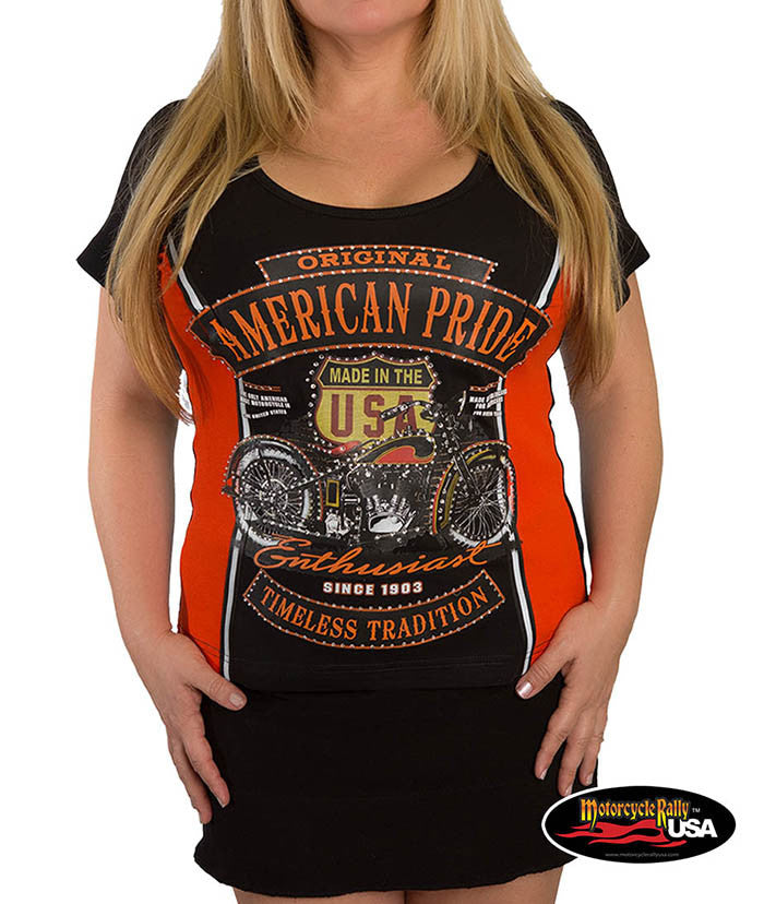American Pride Enthusiast in Front Two Tone Tee
