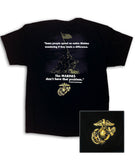 Marines No Problem Black T-Shirt with Metallic Gold Ink