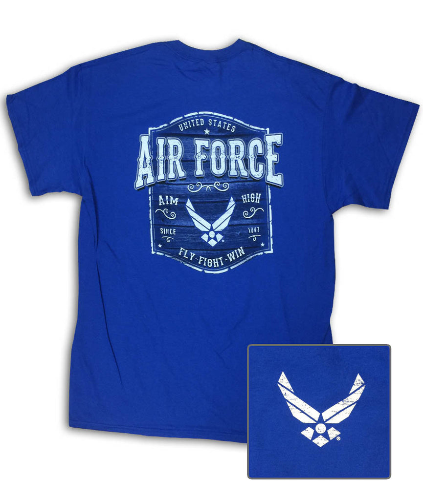 Air Force Wood Sign Royal Blue T-Shirt