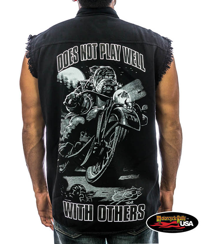 Does Not Play Well with Others Bulldog Cut Off Denim Shirt