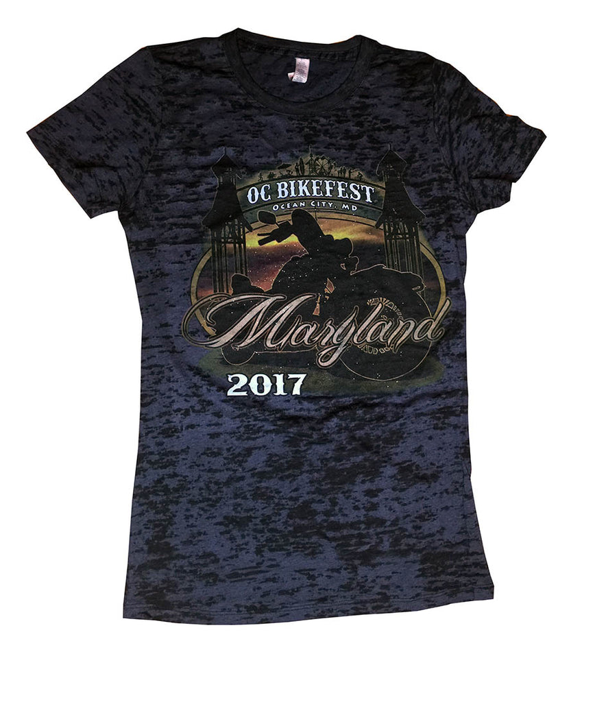 2017 OC BikeFest Boardwalk Black Burnout Top