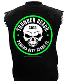 2019 Spring Thunder Beach Neon Skull Black Cut Off Denim Shirt