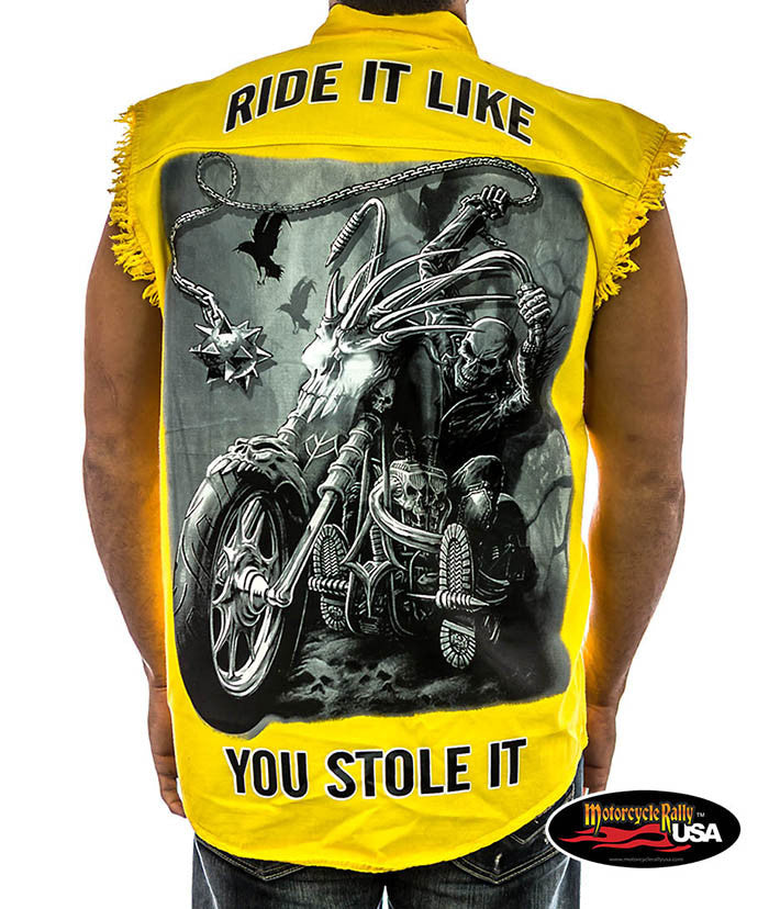 Ride it Like you Stole it Cut Off Denim Shirt